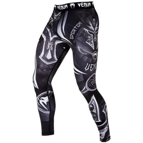 На фото Компрессионные Штаны Venum Gladiator 3.0 Spats - Black/White в интернет магазине FightGear.com.ua